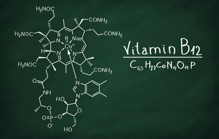 scientific vitamin b12 formula written on chalkboard