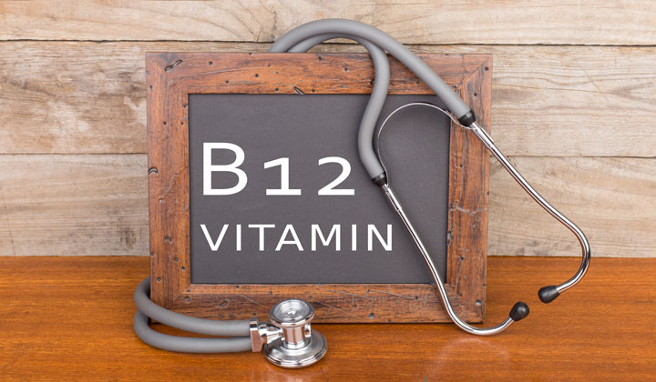 B12 Vitamin written on chalkboard with stethescope